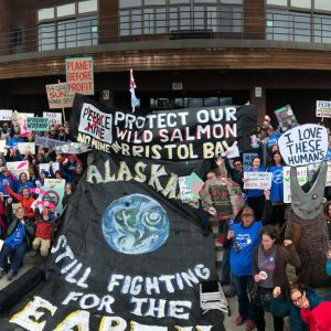 Alaskan at a rally to protect Bristol Bay from the Pebble mine