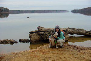Michelle and her dog Lilly on a hike in Staunton River State Park in Virginia.