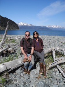 Brian and Amy Dalton taking a break during an annual beach cleanup in Resurrection Bay sponsored by the Resurrection Bay Conservation Alliance. Photo: Brian Litmans