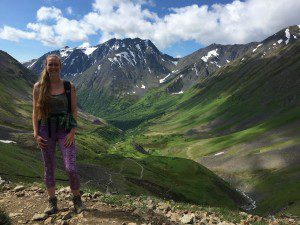 Kat Fiedler hiking on the Crow Pass Trail out of Girdwood.