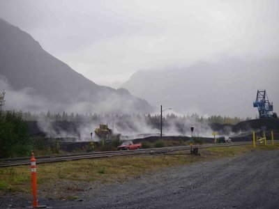 Smoldering piles of coal at the Seward Coal Loading Facility. Photo courtesy of Russ Maddox.