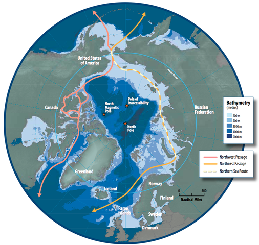 NOAA Map of Arctic Shipping Routes