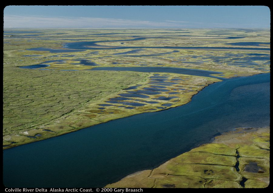 Aerial view of the Colville River Delta on Alaska's Arctic Coast. Photo by (c) Gary Braasch.