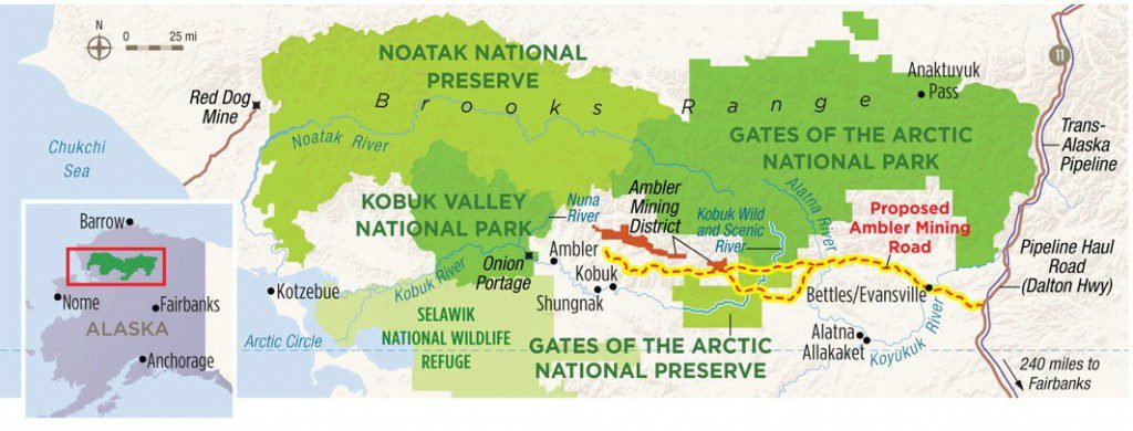 Map showing AIDEA's original proposed route for the road. AIDEA has since rerouted the eastern end of the road. Map by Karen Minot, courtesy of the National Parks Conservation Association.
