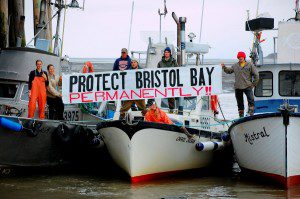 Commercial fishermen display their feelings about the proposed Pebble Mine in 2010. Photo by Luke Strickland.