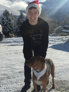 Esack Grueskin enjoying the holidays in Montana with his dog Sabra.