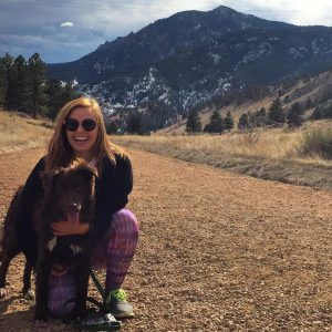 Jaclyn Brass, with her dog Beau, hiking Mt. Sanitas in Boulder, Colorado, where she is attending law school.