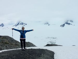 Intern Jaclyn Brass hiked up to the Harding Ice Field in Kenai Fjords National Park.