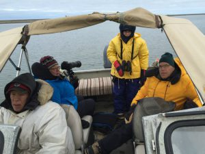 Bundled up in the boat heading out to watch polar bears. Photo by Vicki Clark.