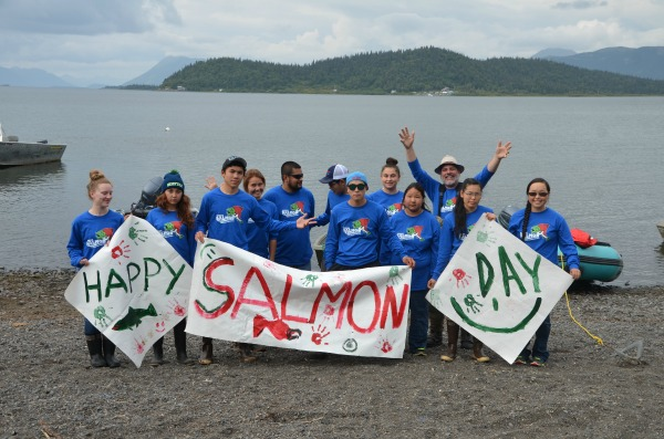 Todd Radenbaugh celebrating Wild Alaska Salmon Day with his 2016 high school students participating in the summer science camp at Lake Aleknagik.