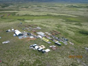 The main camp contains drill pipe, buildings, tanks, and other supplies. Photo: David Chambers, Center for Science in Public Participation