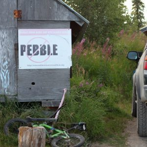 No Pebble mine sign with bike and truck Bristol Bay