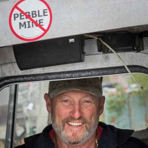 Photo of Bristol Bay resident with no Pebble mine sticker