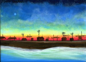 Painting of a coastal village at sundown. Blues, greens in the sky and sea, a village skyline in black, the red of the falling sun behind it.