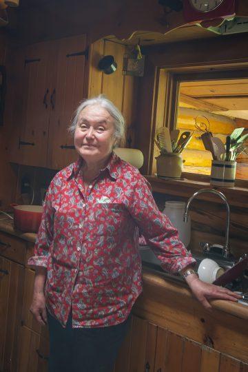Bella in her cabin kitchen.