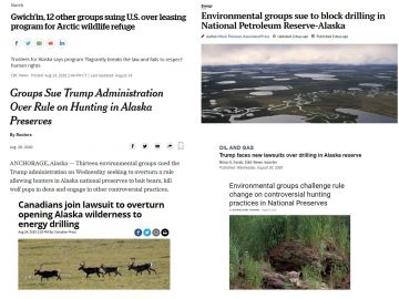 Collage of headlines about our August lawsuits