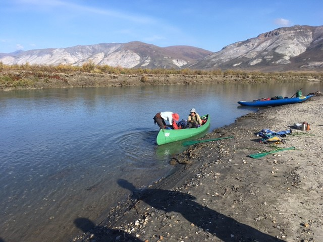 Bob and Dorothy Childers in their canoe on the Noatak River in Alaska's Arctic.