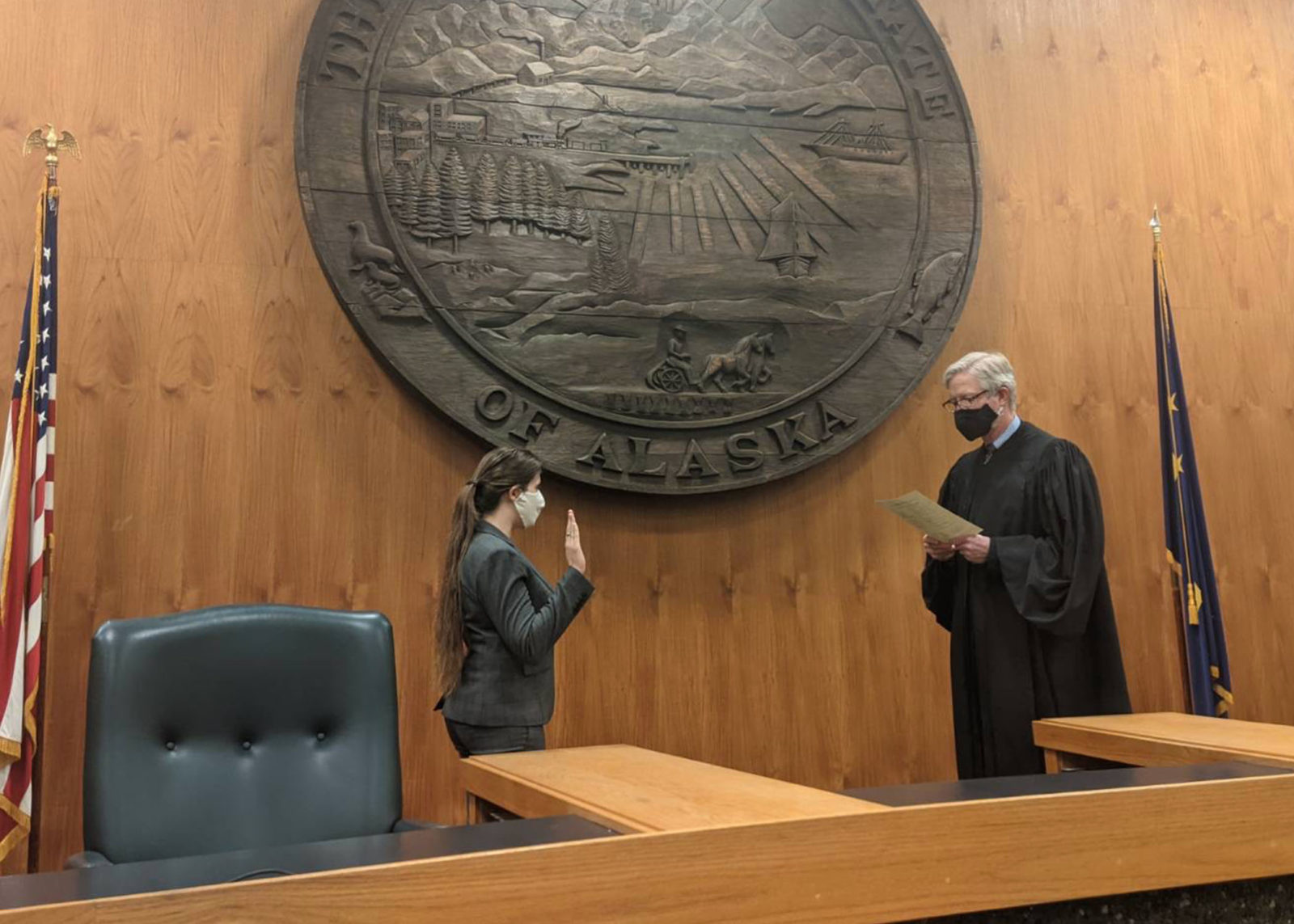 Rachel started as a legal fellow and then became a staff attorney. Here she is Rachel being sworn into the Alaska bar in March 2021 while in the courtroom.